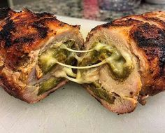 Green chile stuffed pork tenderloin
