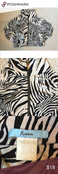 Marciano zebra jacket Note loose threads at wrists (see last photo). Otherwise good condition. Tag is too faded to read the material but it is silky soft. Marciano Jackets & Coats