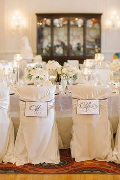 Elegant, Ivory, Dinner Party -  Country,  Chairs,  Club  Mr. & Mrs. tags for chairs