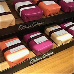 Atelier Cologne Gift-Wrapped Soap Collection – Fixtures Close Up Lush Handmade Cosmetics, Lush Cosmetics, Retail Fixtures, Cologne, Fragrance, Soap, Gift Wrapping, Nordstrom, Branding