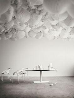 ceiling of honeycomb balls