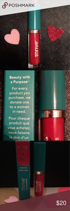 Vegan Cruelty Free Thrive  Liquid Stain Lip Gloss Thrive Lab's proprietary formula drenches your lips in instant hydration and color with collagen boosting lip plumping power. The full coverage, non-sticky gloss is infused with Fade-Proof Nanopigment Technology™ so when the glossy finish wears away, a soft color stain is left behind. Cruelty Free!! Makeup Lipstick