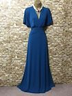 MONSOON ANGELINA TEAL JERSEY MAXI FULL LENGTH DRESS Size 12-14 wedding/cruise