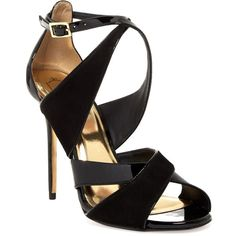 Ted Baker London Albace Strappy Sandal (48 BHD) ❤ liked on Polyvore featuring shoes, sandals, heels, open toe shoes, criss cross strap sandals, strappy high heel sandals, criss-cross sandals and strap sandals