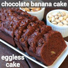 chocolate banana cake recipe, banana and chocolate cake, banana chocolate chip cake with step by step photo/video. chocolaty cake with banana, choco chips. Easy Cake Recipes, Sweet Recipes, Snack Recipes, Dessert Recipes, Steam Cake Recipe, Cooker Cake, Cake Tray, Steamed Cake, Chocolate Chip Cake