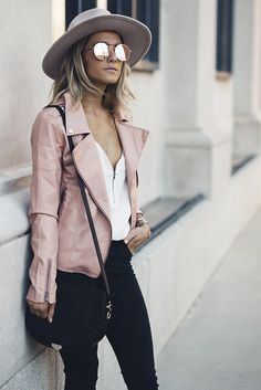 Blush leather jacket + white front zip blouse + black pants + western hat