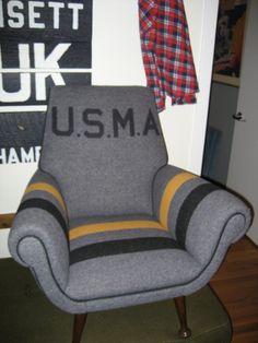 USMA Mid Centu Chair w West Point Blanket REDONE