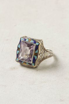 Vintage enameled filigree amethyst ring