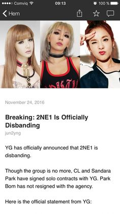 Best of wishes to them... They were an incredible group, and I'm sure that their solo careers will be wonderful too #2NE1 #Kpop ❤❤