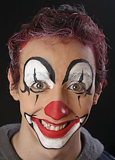 Afbeeldingsresultaat voor clown make-up Clown Makeup, Halloween Face Makeup, Sable Hair, Made Up Words, Clown Faces, Pierrot, Hair System, Clowning Around, Flat Brush