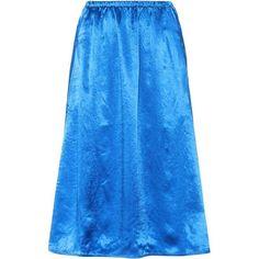 Acne Studios Sabina Satin Skirt ($460) ❤ liked on Polyvore featuring skirts, blue, acne studios, blue skirt and satin skirt