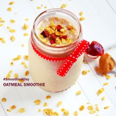 Oatmeal Smoothie:  - 1 cup ice - ½ cup frozen raspberries or strawberries - ½ cup plain yogurt - 1 banana - ½ cup old-fashioned rolled oats - 1 tablespoon honey