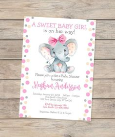 New Ideas Baby Shower Elephant Girl Invitations Etsy Baby Shower Invites For Girl, Baby Shower Favors, Baby Shower Cakes, Baby Shower Themes, Baby Boy Shower, Baby Shower Decorations, Baby Shower Invitations, Shower Ideas, Baby Girl Shower Themes
