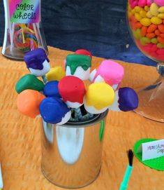 Marshmallow paint buckets at an art birthday party! See more party ideas at CatchMyParty.com!