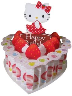 Hello Kitty Birthday Heart Cake Pop Up Greeting Card #HelloKitty