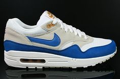 competitive price fd86b 88cd5 Nike Air Max 1 Men s Running Shoe White Blue Gray Ocher,Various trainers in  stock with best quality as you see.