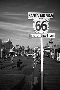 USA Los Angeles - Santa Monica Beach - End of the Route 66.  It actually ends on 7th and Broadway in LA, but to boost tourism Santa Monica decided to claim the end of the route.