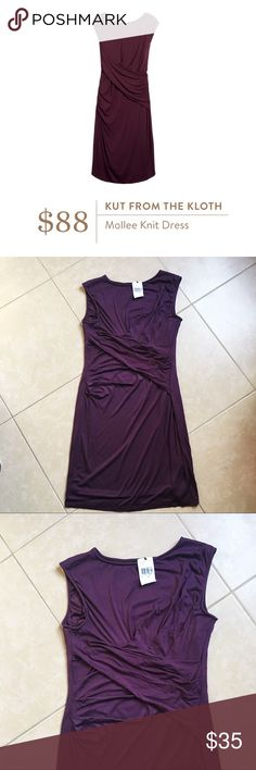 Kut From The Kloth • NWT plum knit Mollee dress Beautiful plum purple draped jersey knit dress by Kut From The Kloth. Originally $88, sold by Stitch Fix. Size 12, new with tags! Kut from the Kloth Dresses