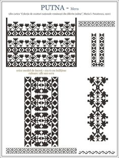 Semne Cusute: iie din MOLDOVA, Putna - Mera (zona Vrancea) Folk Embroidery, Embroidery Patterns, Cross Stitch Patterns, Cross Stitch Cushion, Palestinian Embroidery, Simple Cross Stitch, Beading Patterns, Fun Patterns, Cross Stitching