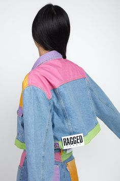 Ragged Jeans, Painted Denim Jacket, Painted Clothes, Colour Block, Jacket Pattern, 30 Degrees, Cute Casual Outfits, Denim Fashion, Diy Clothes