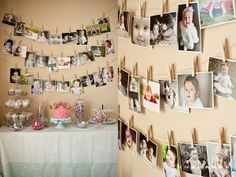 Twine and clothes pins picture display