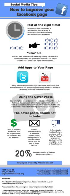 This #infographic was created in-house at Phoenix Idea Lab. See ways of improving your #organization's #Facebook. #socialmedia #SMtips
