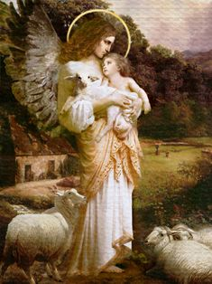The Ministering Angel of Comfort--Angel Art and a brief introduction to Angelology; New Pictures of Angels by Howard David Johnson featuring oil paintings,   prismacolors and digital media.