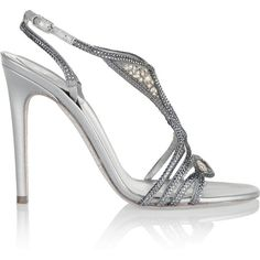 René Caovilla Crystal-embellished metallic leather sandals (765 CAD) ❤ liked on Polyvore featuring shoes, sandals, heels, silver, leather shoes, metallic high heel sandals, metallic leather sandals, slingback shoes and glitter shoes