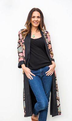 9d01f80ce7 Jaba Long Kimono in Hydrangea Black