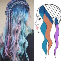 Hairstyles and Beauty: The Internet`s best hairstyles, fashion and makeup pics are here. Hair Color Placement, Color Fantasia, Joico Color, Hair Color Techniques, Unicorn Hair, Mermaid Hair, Hair Painting, Rainbow Hair, Ombre Hair