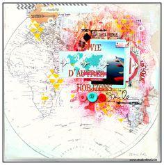Travel scrapbook inspiration. Broken link /no artist listed.