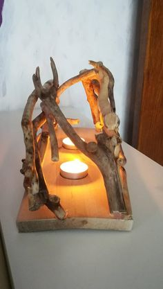Driftwood Candle Holder,Home Decor,Rustic Decor,Driftwood Centerpiece,Driftwood Lighting,Driftwood Tea Light Holder, Gift, Driftwood Sculpture, Real Wood,Patio Decor,Driftwood Beach Decor HANDMADE DRIFTWOOD STICKS TEA LIGHT CANDLE HOLDER Sticks found on the beach near the Giant