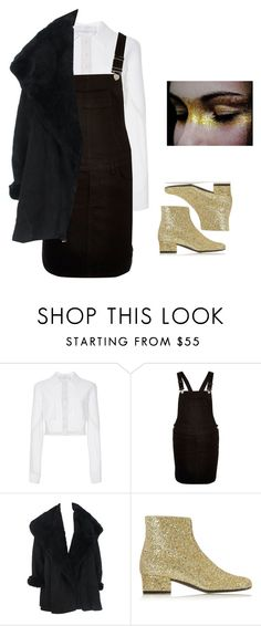 """""""gold"""" by vicosbreathe ❤ liked on Polyvore featuring moda, Carolina Herrera, River Island, Calvin Klein, Yves Saint Laurent, YSL, glitter, overall i glitterboots"""