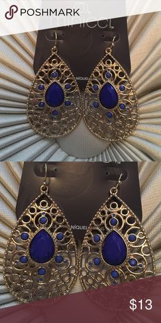 Teardrop Chandelier Earrings Gold chandelier earrings with blue teardrop stone. Brand new Jewelry Earrings