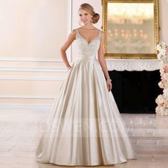 d6935f1eebf Joswen Dresses for Weddings and Special Occasions - A-line Sweetheart Sweep  Train Charmeuse Wedding