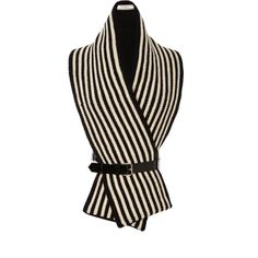 Bouchra Jarrar Patent-Leather Harness Striped Wool Scarf ($1,250) ❤ liked on Polyvore featuring accessories, scarves, jackets, modaoperandi, striped shawl, woolen scarves, bouchra jarrar, woolen shawl and striped scarves
