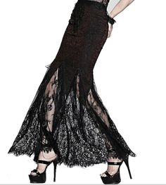 Black Lace skirt fishtail steam punk rave goth glam red S M L chain Victorian #BreathlessEmbrace #Skirt
