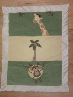 Monkey and Giraffe Friends (Baby Quilt)-QuiltsbyShirley