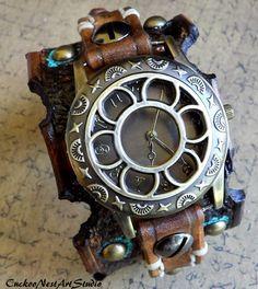 Women's watch Cuff Leather wrist watch by CuckooNestArtStudio, $119.00