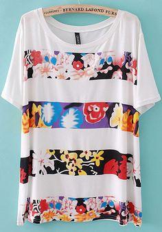 White Short Sleeve Striped Flowers Print T-shirt