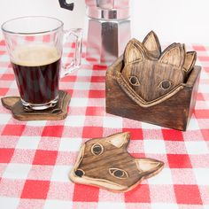 Set of 6 Wooden Fox Coasters
