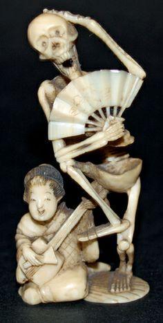 japanese okimono | Early Meiji Period Japanese ivory okimono. Skeleton and Musician. - J ...