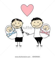 Mother And Father With Newborn Twins, A Baby Boy And Baby Girl   Vector  Clipart Illustration