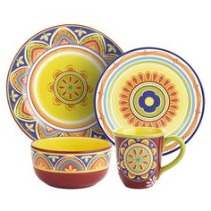 Mexicali Dinnerware from Pier One. Perfect with my yellow table!