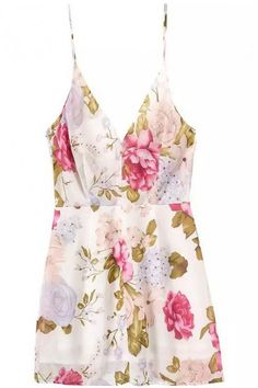 LUCLUC Floral-Pattern Strappy Ruffle Dress