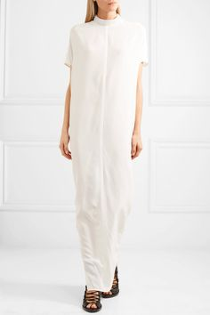White silk-georgette Zip fastening along back 100% silk Dry clean Made in Italy