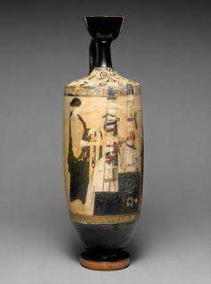 Terracotta lekythos (oil flask), Greek, Attic, Classical, ca. 460–450 B.C. Overall: 16 11/16 x 5 7/16in. (42.4 x 13.8cm)