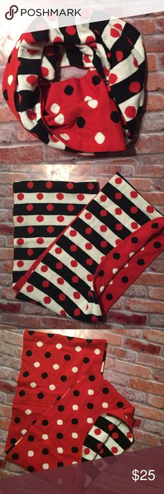 Charming Charlie • infinity Polka Dot Scarf So so cute! Charming Charlie • Red, White & Black Reversible infinity Scarf. New, never worn. Adorable polka dot detail on both sides. Charming Charlie Accessories Scarves & Wraps
