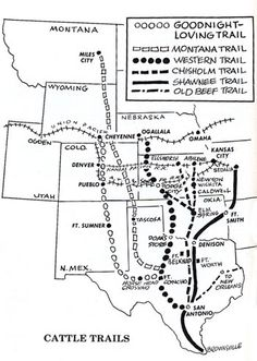 Kansas Chisholm Trail Map. The Chisholm Cattle Trail went