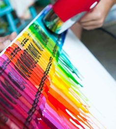 Wax crayons and a blow drier - Must try this!
